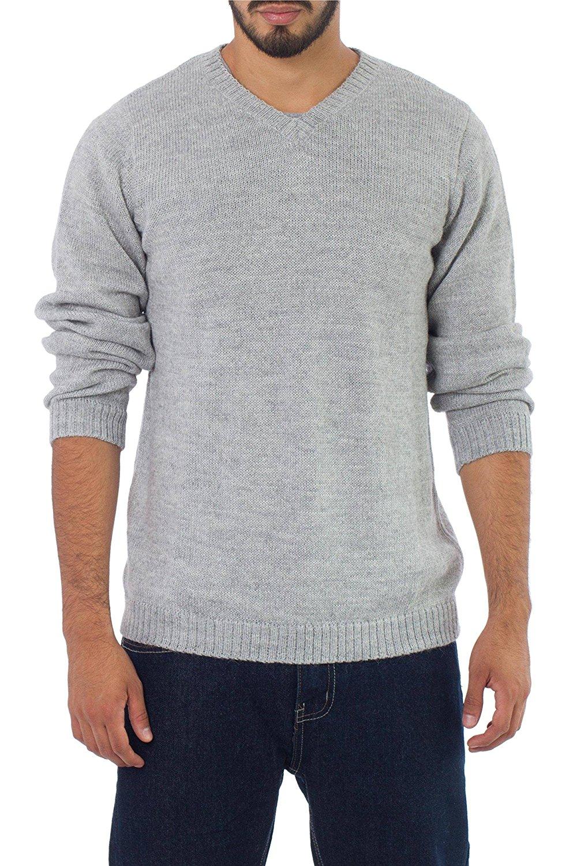 NOVICA Gray Alpaca Blend Men's Sweater, Gray Favorite Memories'