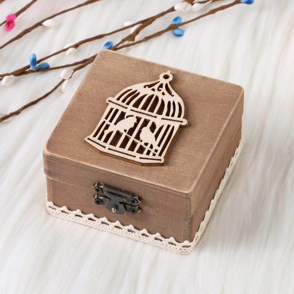 Wood Ring Box Rustic Ring Bearer Holder Decorative Wedding Engagement Jewelry Boxes /Wedding Ring Box Holder Shabby Chic Rustic (B)