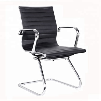 906d Hot Black Leather Office Guest Chairs Without Wheels