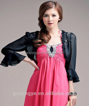 Long Sleeve Black Chiffon Bolero Jacket For Evening Dresses 2017 ...
