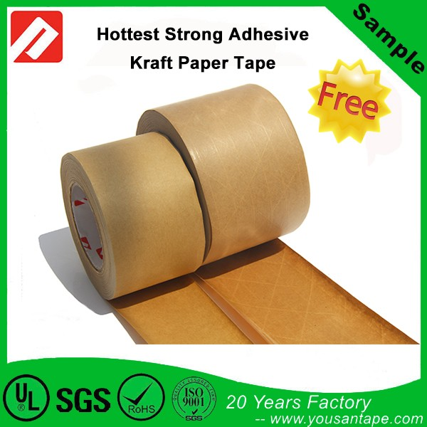 Water activated reinforced gummed kraft paper adhesive tape for machine