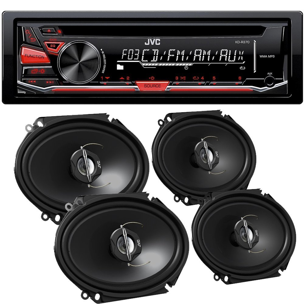 JVC KD-R370 in-Dash Car Stereo CD//MP3 Player Receiver w//Dual Aux Inputs Package Pair of JVC CS-J620 Wireless 6.5 2-Way Coaxial Car Speakers Totaling 600 Watt Peak//60 Watt RMS