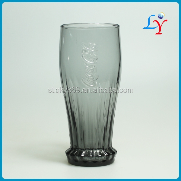 bottle shaped gift glassware promotional colour cola glass coca cups cheap glass cup with color