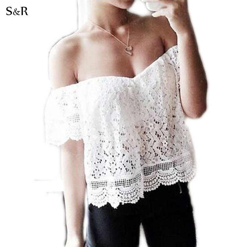 Women Blouses 2015 Summer Style Shirt Lady Women Blouse and Shirts Blusa Feminina Slash Neck Off shoulder Lace White Loose Top