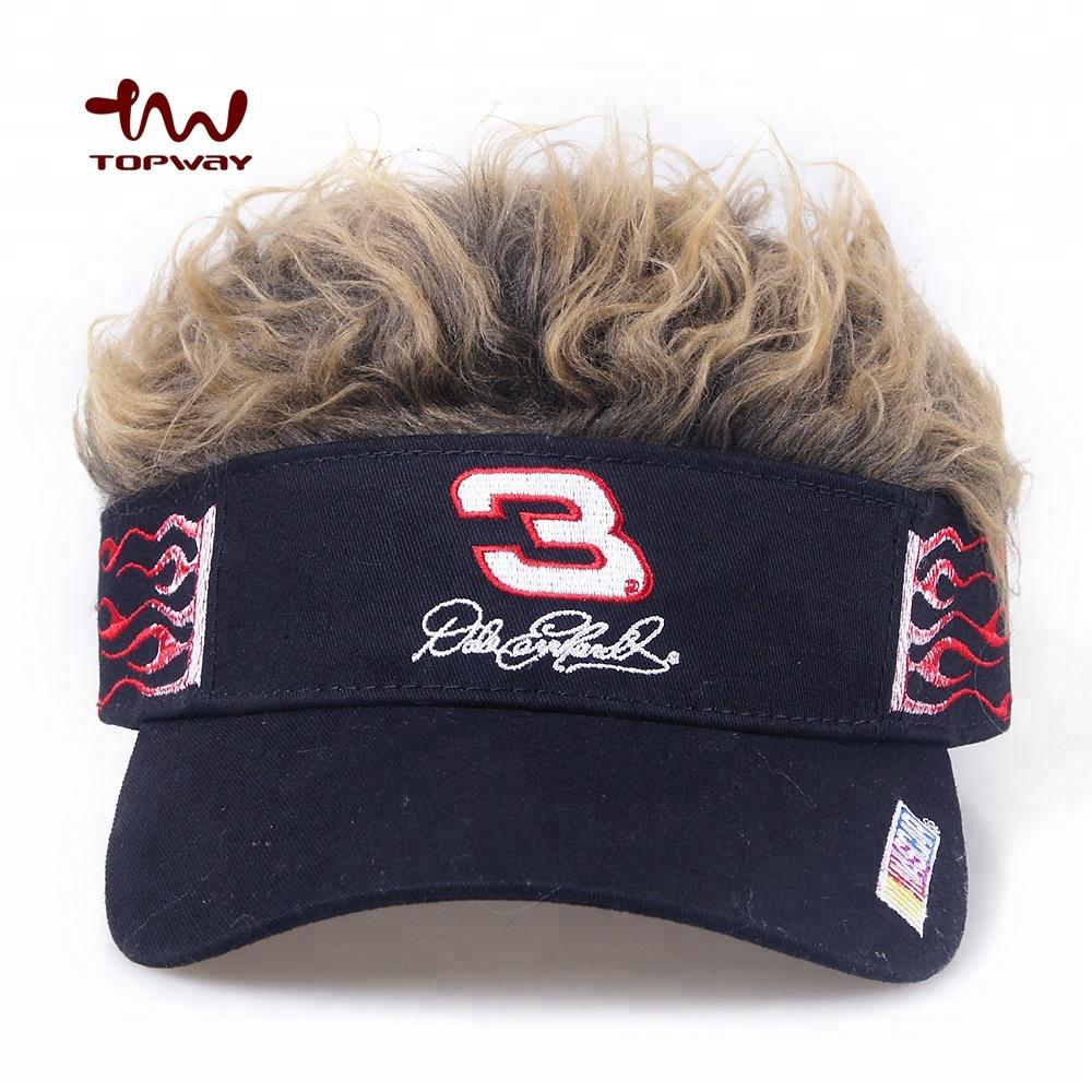 Visor Hat With Wig 66f10616b9f8