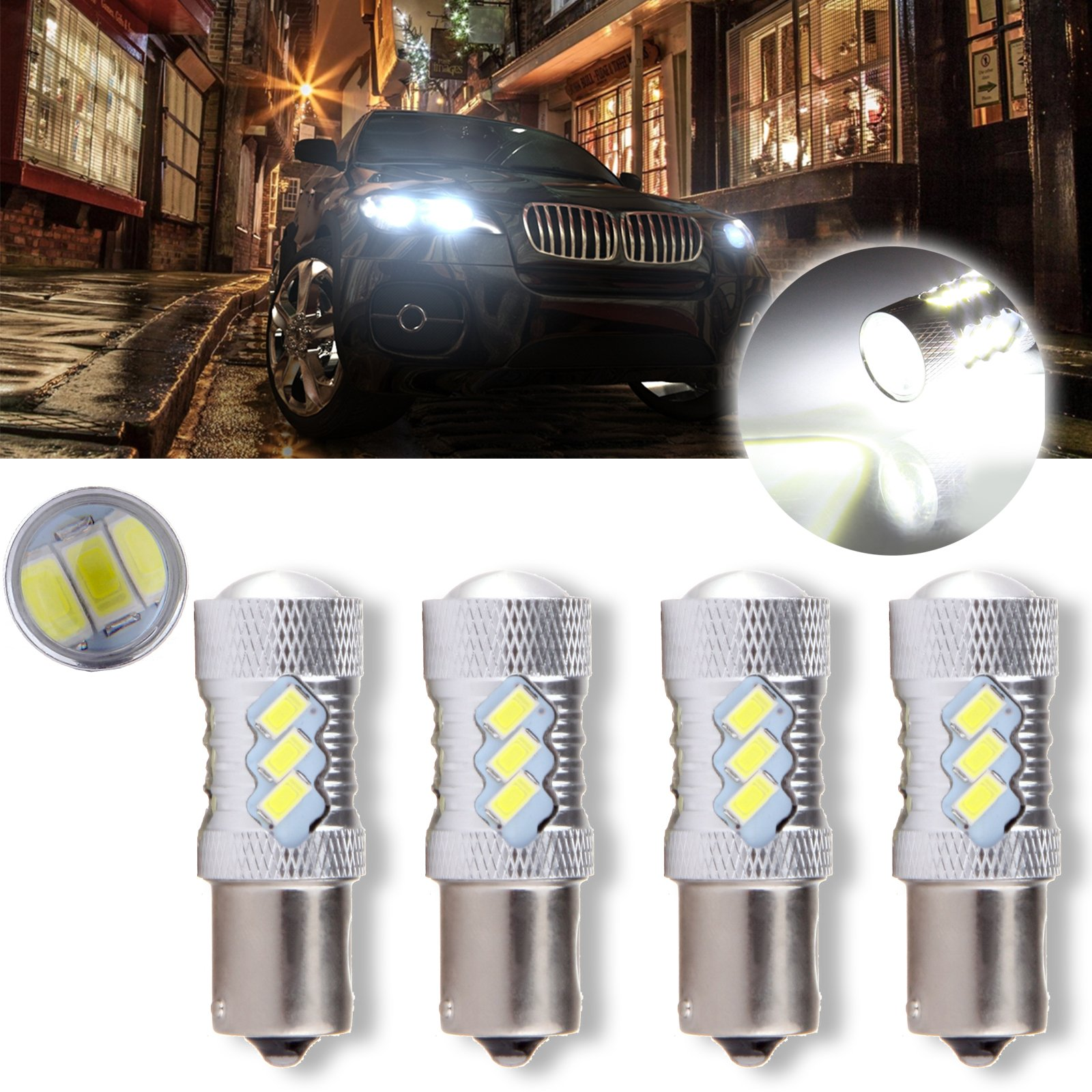 CCIYU 4 Pack Xenon White 6000K 60W 6000K Cree 1156 BA15S LED 15 5730 SMD Reverse Backup Light Bulb