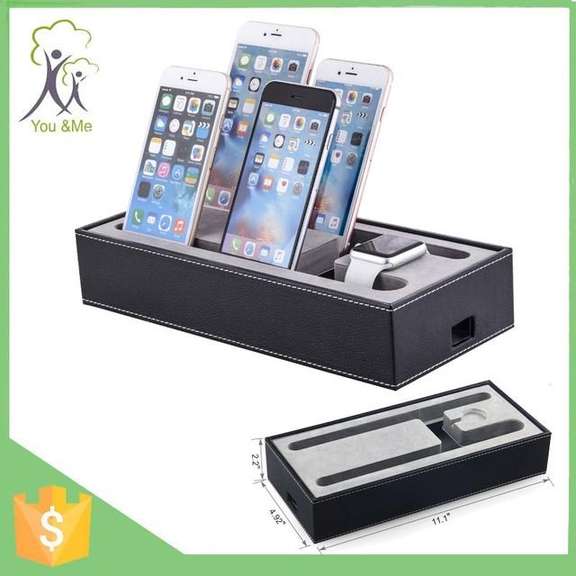 Black Pu Leather Desktop Mobile Phone Holder For Multiple Device