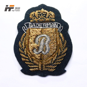 Custom handmade Indian yarn embroidery gold badge patch for clothing