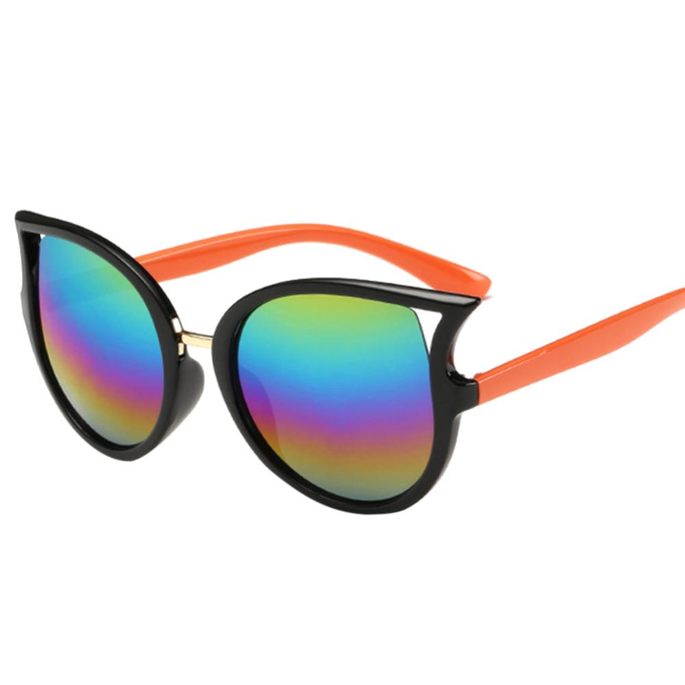 Summer Kids Sun Glass Children Goggles Coating Sunglasses Girls Cat Eye Shades Sunglass Reflective UV400 Oculos