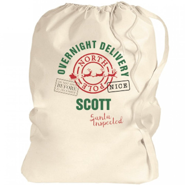 Xmas Santa Sacks Of Presents For Scott: Canvas Laundry Bag