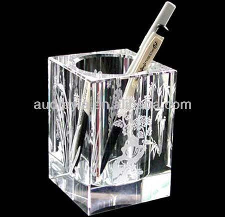 Nice crystal glass pen holder for office decoration