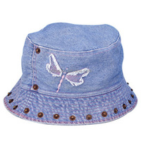 fashion washed denim with metal snap decoration bucket hat wholesale