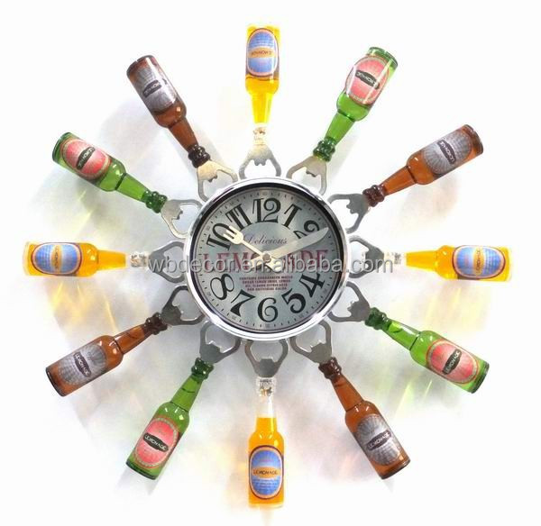 "2015 Special Design 16"" Kitchen Wall Clock with Bottle & Bottle opener"