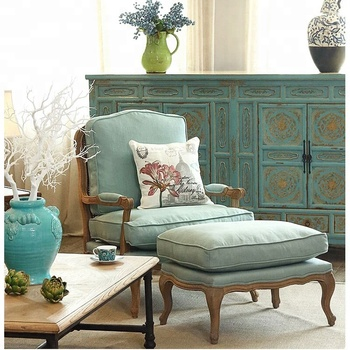 Furniture Home Living Room Set Antique Solid Wood Sofa Couch Arm ...