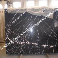 Polished floor tiles,marble tile black and white