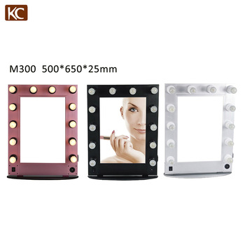 professional lighted makeup mirror, standup makeup mirror, folding makeup mirror with aluminum frame and 12pcs light bubble