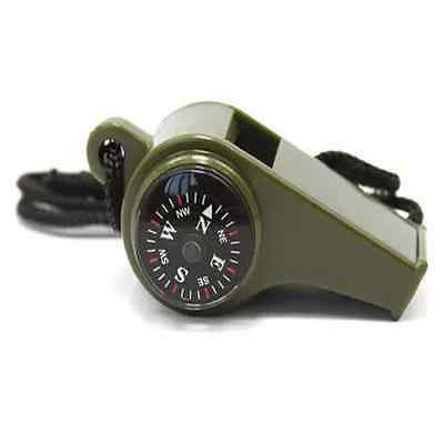 Hiking 3 in1 Outdoor Camping Emergency Survival Gear Whistle Compass Thermometer acme sports survival whistle