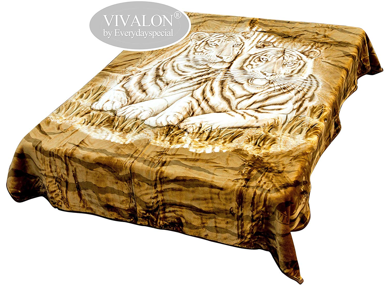 VIVALON Ultra Silky Soft Heavy Duty Quality Korean Mink Printed Brown White Tiger Reversible Blanket King Size