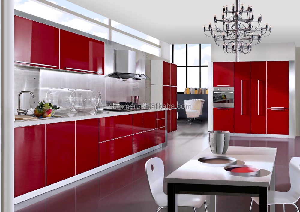 Customized MDF high gloss kitchen cabinet curved kitchen