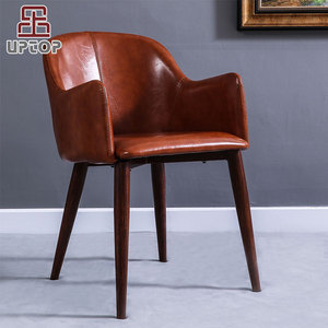 (SP-HC583) High quality backrest imitate wood iron leg comfortable PU leather coffee chair