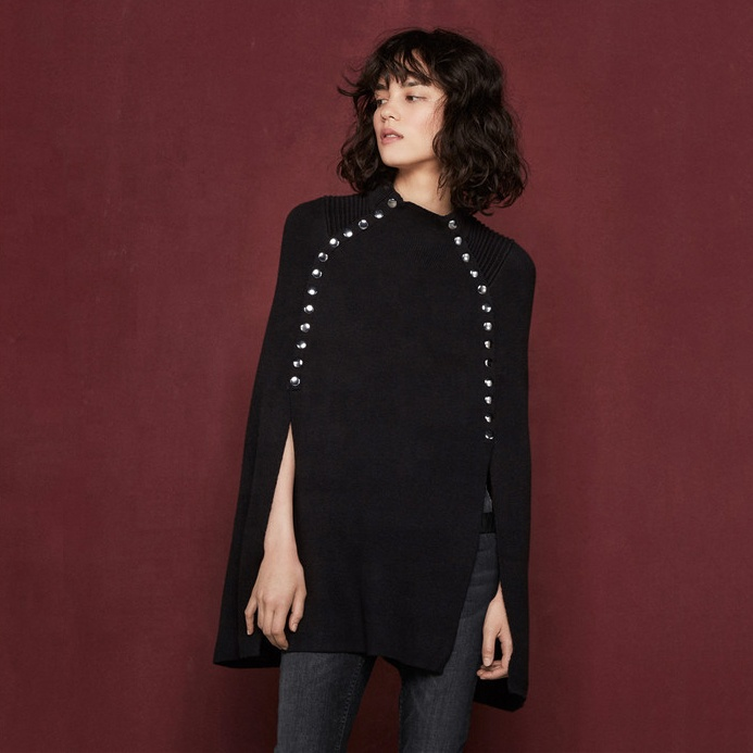 Wholesale  knitted cashmere women poncho sweater