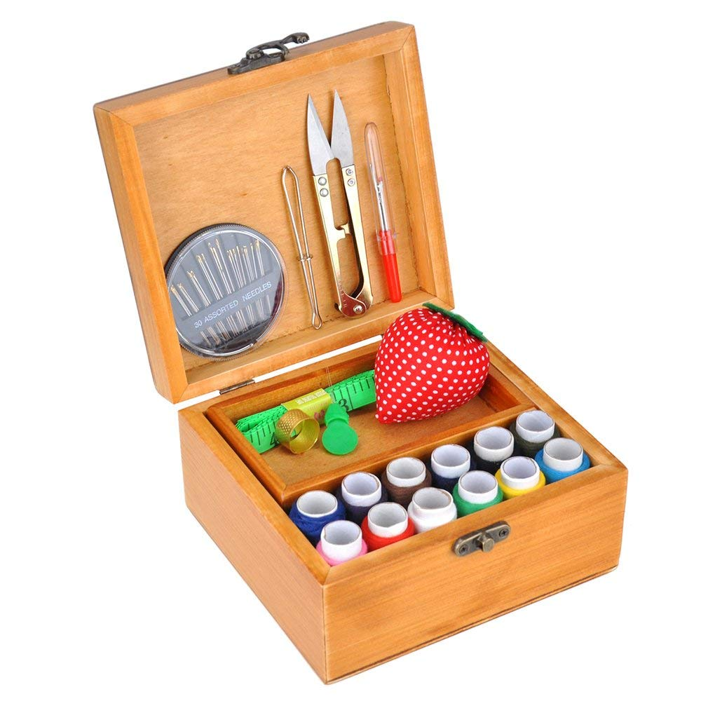 Ylovein Professional Sewing Kit Set with Wooden Box for Home Travel Vintage Type Sewing Accessories Holder