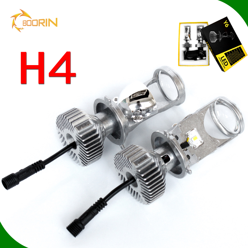 Auto parts, car part Automotive Y6 mini head lights H4 high/low led headlight len replace hid xenon projector len kit h4 bi led