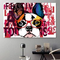 wall art abstract animal painting cartoon dog pictures for fabric painting canvas print