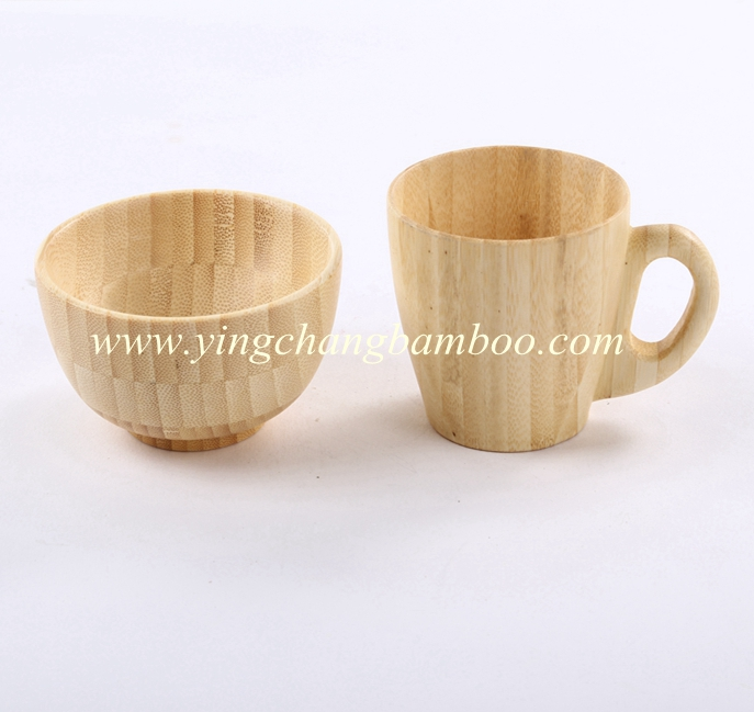 Exquisite Chinese bamboo rice bowl and water cup