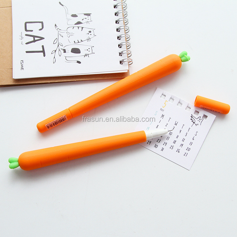 Cheap plastic non erasable carrot shape stylish gel ink pen