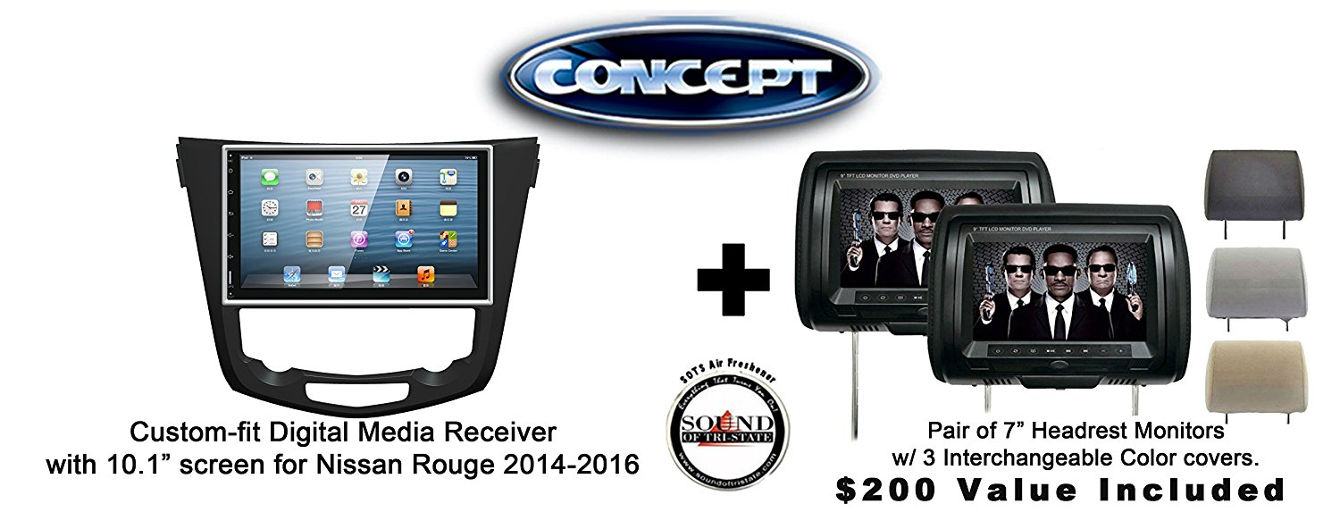 """Concept FFMS-10L Custom-Fit Digital Media Receiver w/ 10.1"""" screen NIS-ROU-10 for Nissan Rouge (2014-2016) & Pair of CLS703 7"""" Headrest Monitors w/ 3 color covers & a FREE SOTS Air Freshener Included"""
