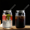 400ml Glass Cup With Lid and Straw