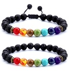 Men Women Lava Rock 7 Chakras Essential Oil Diffuser Bracelet Natural Stone Yoga Beads Bracelet
