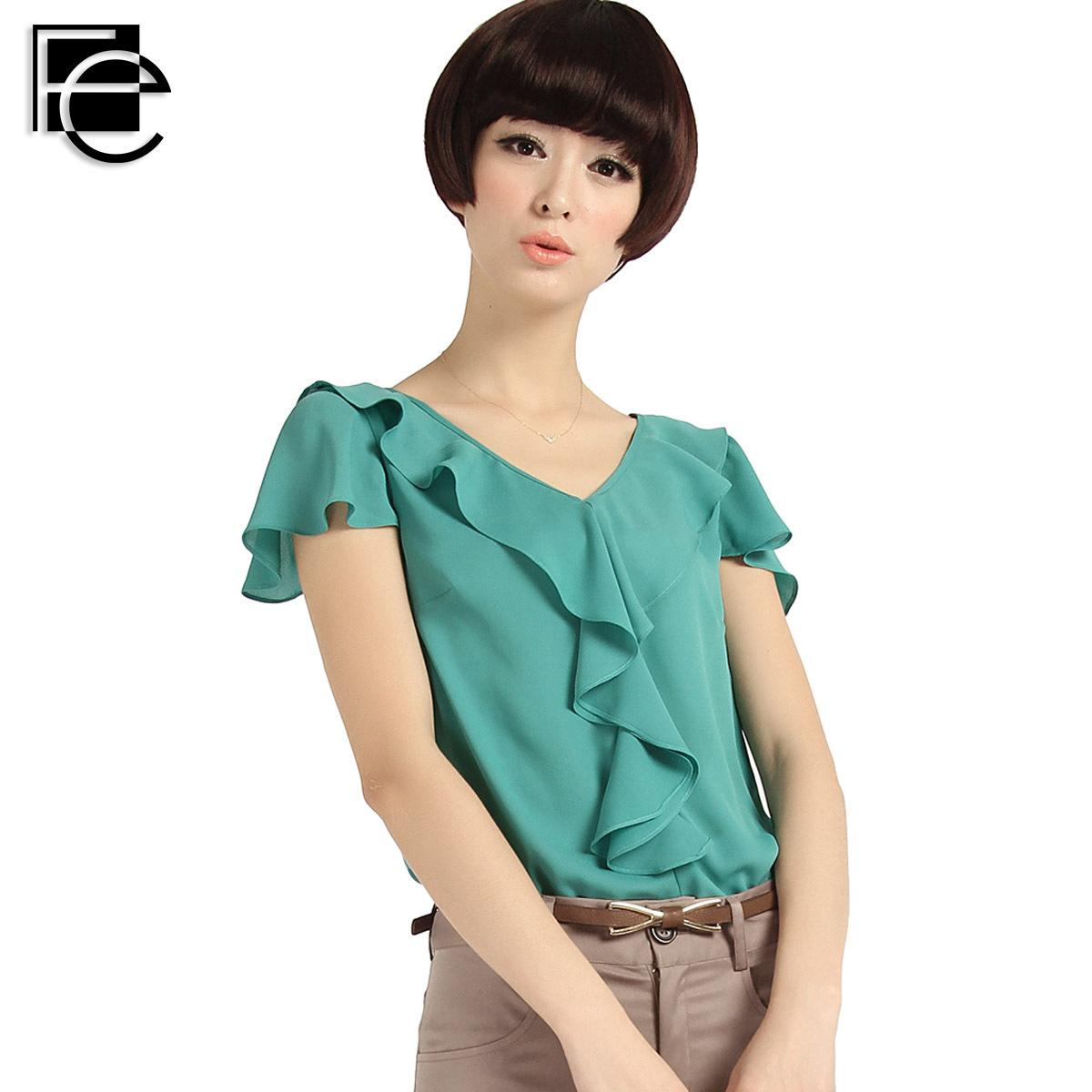 12a090a822df76 Buy Chiffon shirt top summer short-sleeve women t-shirt ruffle V-neck  short-sleeve chiffon shirt fbl0050 in Cheap Price on m.alibaba.com