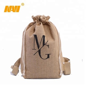 Promotional Multifunctional jute burlap drawstring backpacks with great price