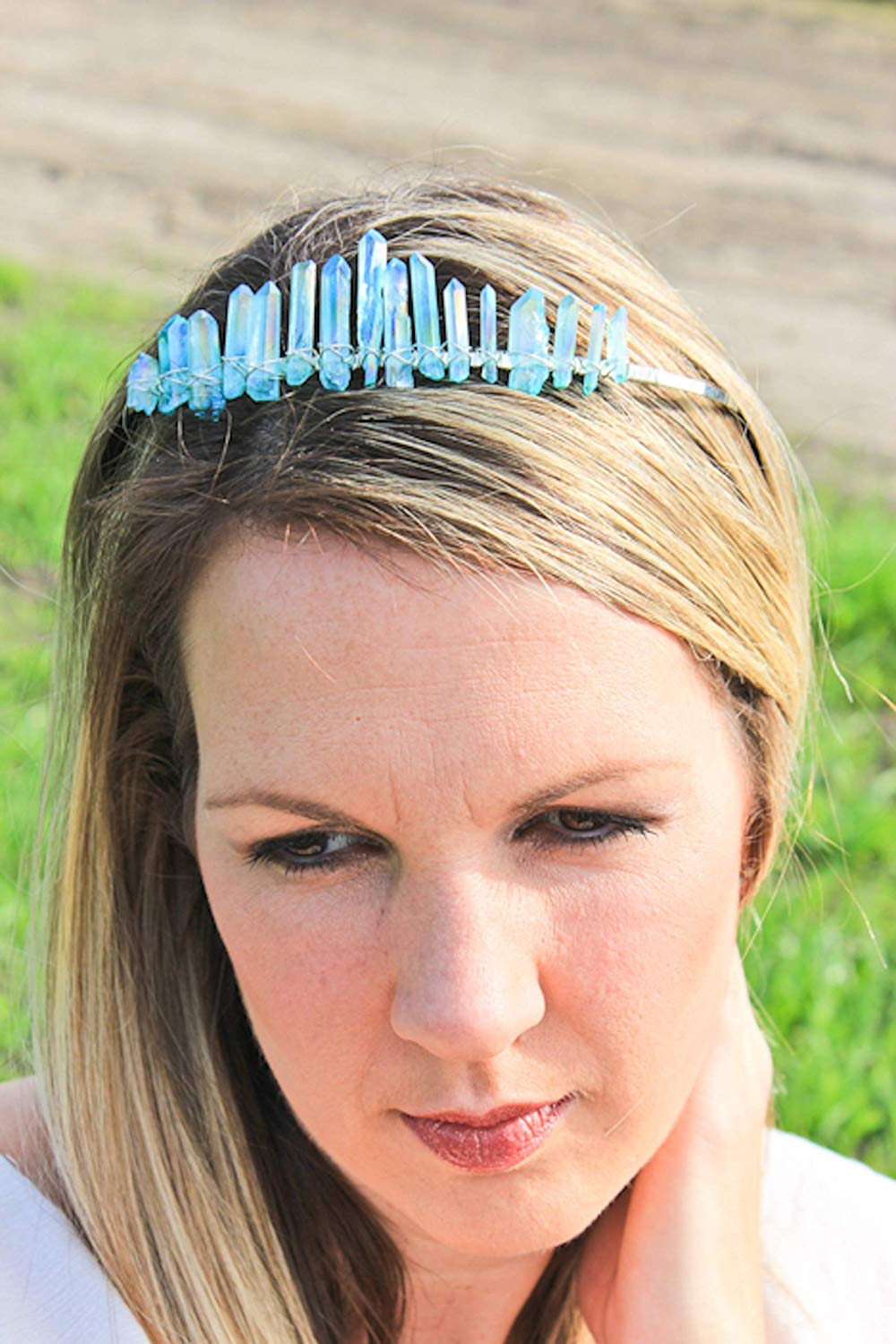 raw crystal crown, crystal crown, quartz tiara, aura quartz crown, mermaid crown, crystal headband, quartz crown, bridal crown, boho bridal crown energized jewels