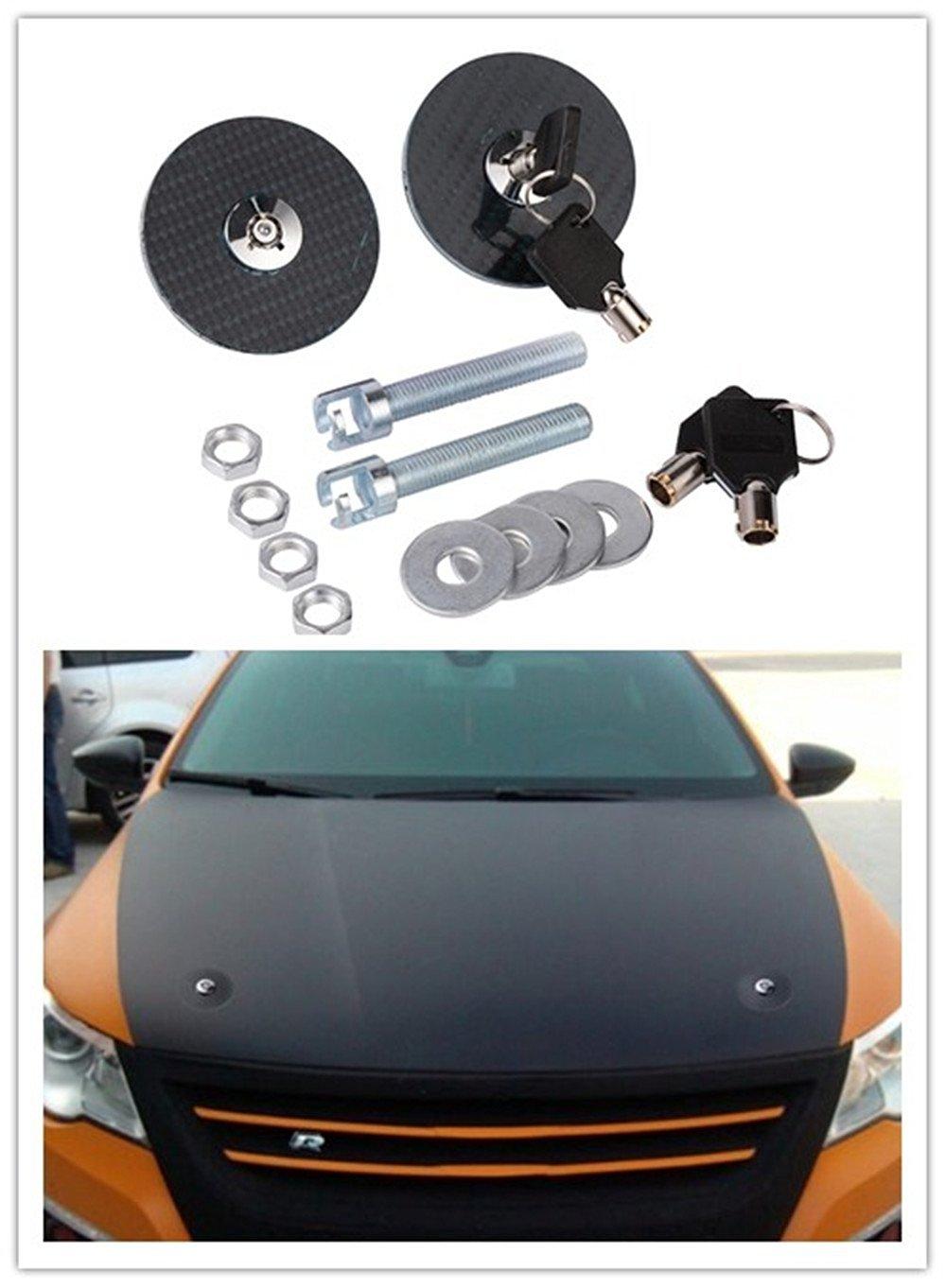 Hood Lock,Universal Carbon Fiber Car Modified Engine Hood Cover Lock Kit Black