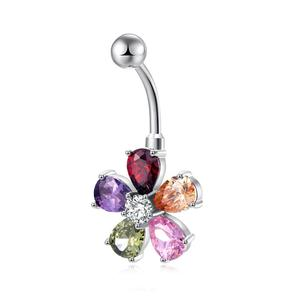 Body Surgical Steel Piercing Belly Navel Ring Dangle Flower Zirconia Piercing Jewelry