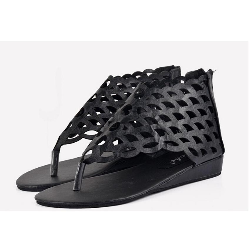 630576969cdb Get Quotations · NEW!Shoes Woman Flat Sandals Hollow Out Sandals Flat  Flip-Flop Zippers Punk Style
