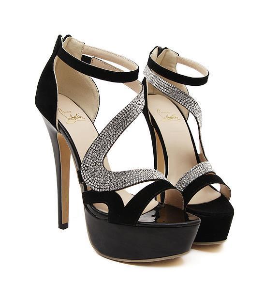 6ffbb72831aa6 2015 new fashion rhinestones decoration ankle strap back zipper women high  heel shoes sandals size 35 36 37 38 39 40