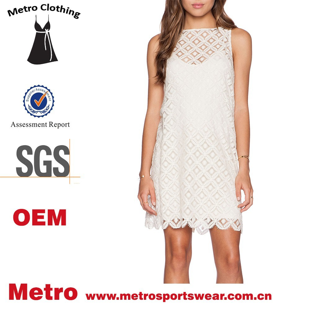 OEM latest clothes for ladies gorgeous lace mark tunic dress