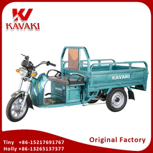 China Kavaki Tricycle Factory Export 48V 60V Battery Power Electric Cargo Tricycle Motor 3 Wheels Truck