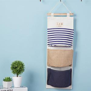 3 Pockets Navy Wall Hanging Storage Bag Vintage Jute Sundries Organizer Closet Bag Living Room Bedroom Home Storage Bags