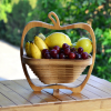 Folding Wooden Fruit Basket With Net Cover