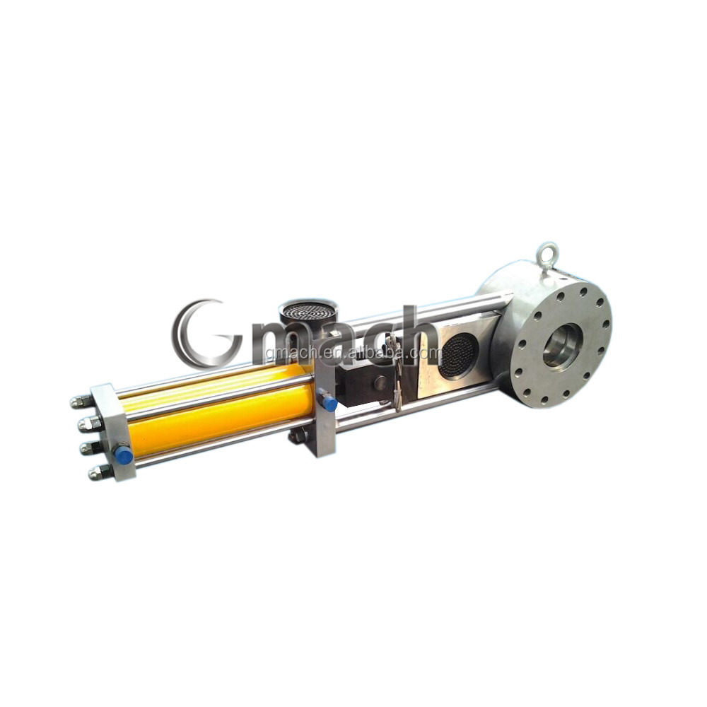Flat plate hydraulic screen changer filter for plastic granulators