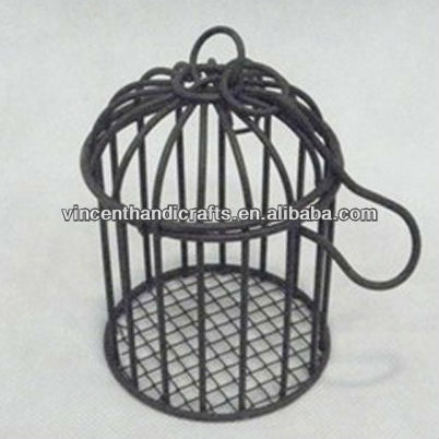 Small black round hanging metal wire bird cage