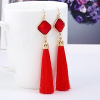 YWMT 2019 New Design Hot Sell Jewelry Square Austria Crystal Fish Hook Druzy Long Tassel Earrings For Women