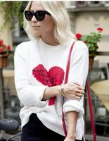 Europe heart letter jacquard sweater female split bottoming sweaters top sweet pullover ladies cardign