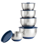 Stainless Steel salad silicone bottom 5 Piece Mixing Bowls Set