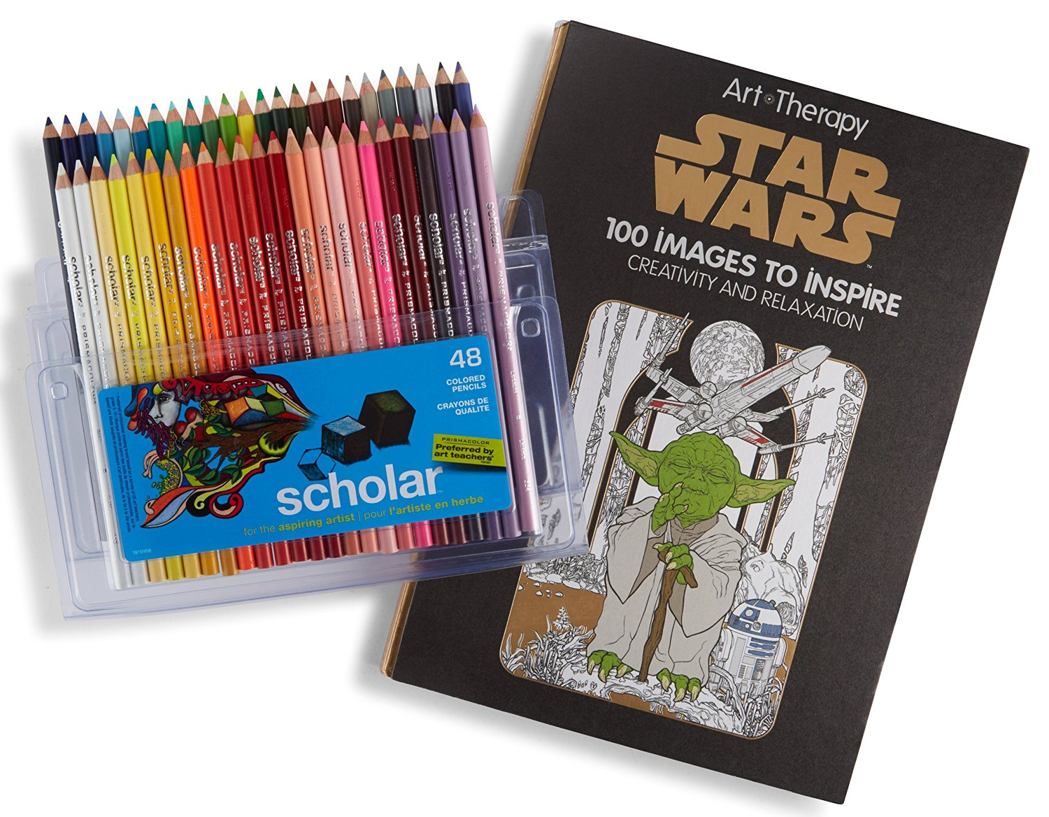 Prismacolor Scholar Colored Pencils, 48 Pack and Adult Coloring Book (Art of Coloring: Star Wars)